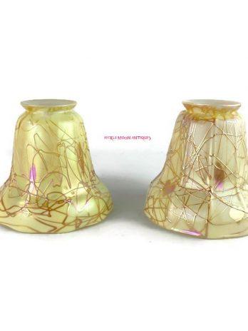 Steuben Hearts & Vines Art Glass Shades (2)