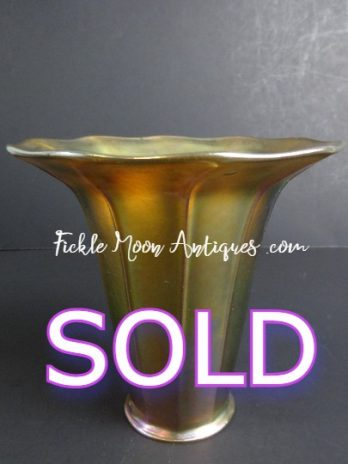 zSOLD   Quezal Iridescent Gold Art Glass Shade (1)