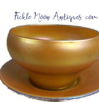 Quezal Bowl & Matching Saucer