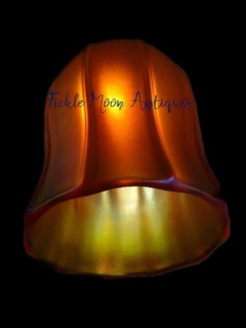 z SOLD   Quezal Ribbed Tulip Style Art Glass Shade (1)