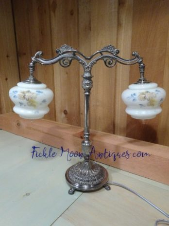 Silver-Plated Double-Armed  Vintage Table Lamp