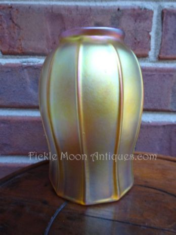 Quezal Ribbed Tulip Style Art Glass Shade