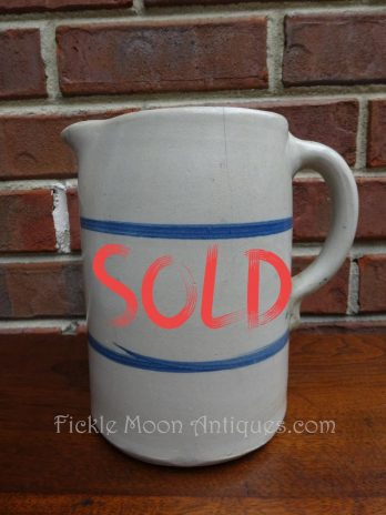SOLD*** Antique Blue Band Stoneware Pitcher