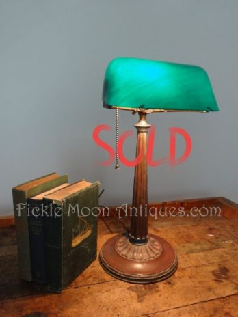 SOLD**  Emeralite H.G. McFaddin Banker Library Lawyer Table Lamp Cased Green Shade