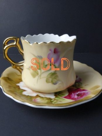 SOLD***  Lefton China Hand Painted Heritage Rose Vintage 1950's Cup & Saucer