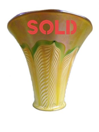 ZSOLD***** Quezal Iridescent Gold Art Glass Shade Pulled Feather Design