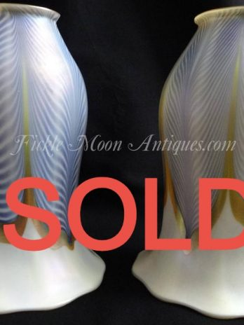 ZSOLD*****  Two Signed Quezal Art Glass Shades