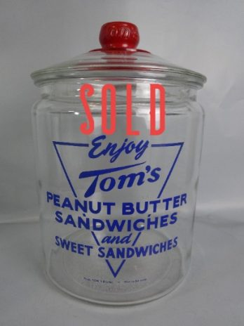 SOLD***  Toms Peanut Butter Sandwiches Glass Jar Vintage Cookie Jar