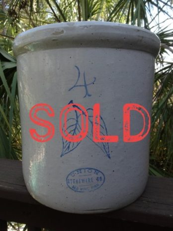 SOLD***Union Stoneware Double Birch Leaf 4 Gallon Red Wing Crock