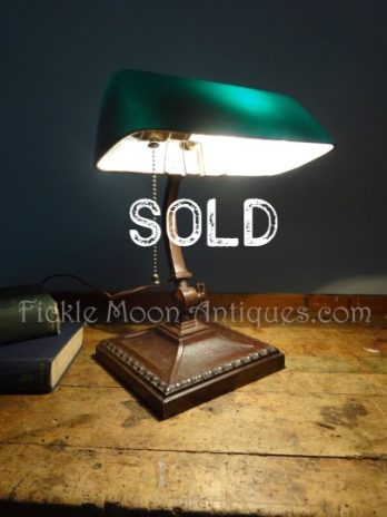 SOLD**  Amronlite Signed Adjustable Lawyer's Library Student Desk Lamp