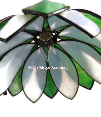 Handel Water Lily Lamp  Green & White Slag Glass Shade (1)  Simply Magnificent