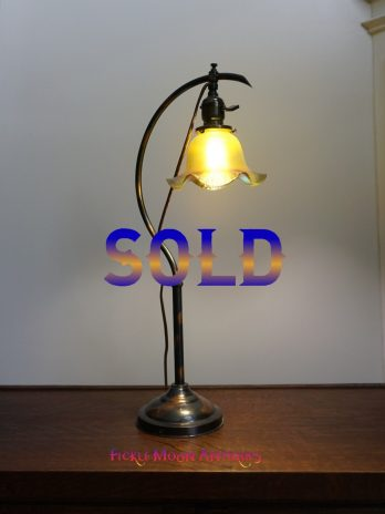 SOLD  ***    Antique Lighting Crescent C-Arm Desk Lamp Arts & Crafts Early American