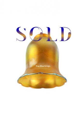 ZSold  **  Quezal Gold Iridescent Art Glass Shade Steuben Tiffany Durand Loetz Lustre