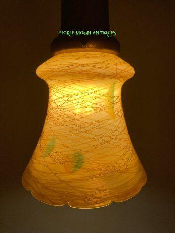Quezal  Art Glass Shades Art Nouveau Hearts & Vines Design
